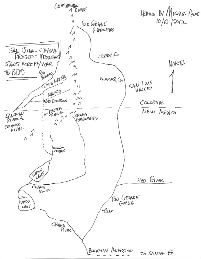 Map of watershed that feeds the Buckman DDpby Michael Aune