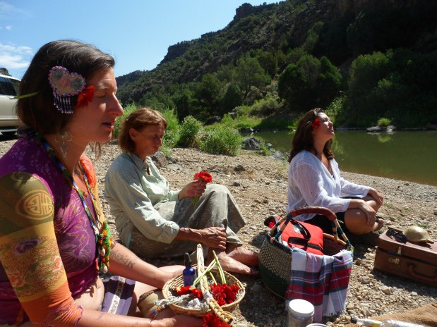 Water ceremony at John Dunn Bridge, Arroyo Hondo NM